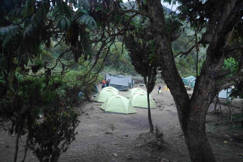 One of the many clearings around Machame Camp and an empty campsite awaiting its occupants to finally arrive.