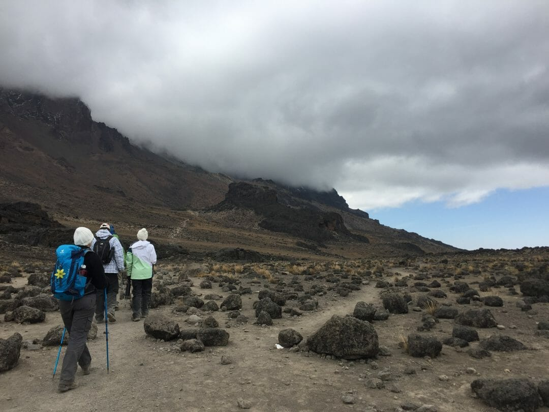 The cloud sets in as we approach the Lava Tower, still around an hour from our lunchtime goal.