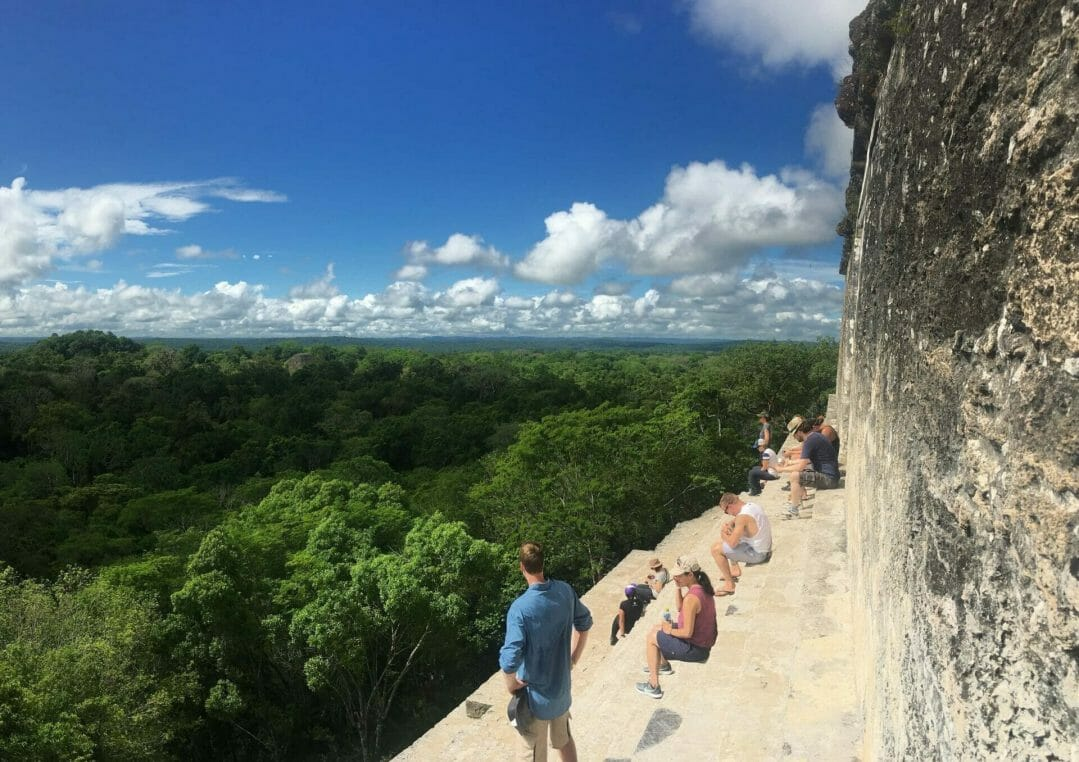Tikal temple IV view, admiring the view from temple IV Tikal