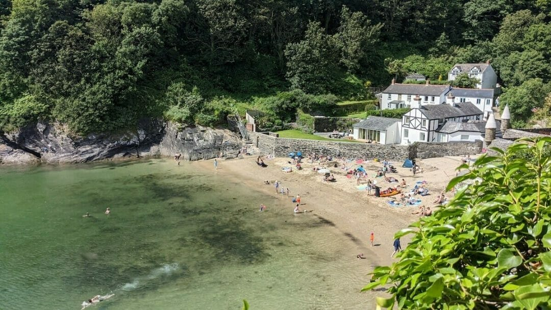 Looking down on sheltered Readymoney Cove near Fowey